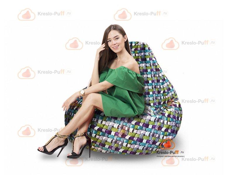 Кресло-груша MAXI Tissage голубой 1