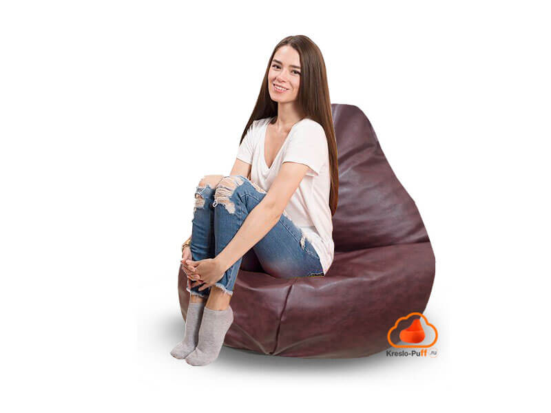 Кресло-груша MAXI Экокожа коричневый